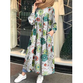 Women Vintage O-neck Long Sleeve Floral Print Button Retro Shirt Maxi Dresses
