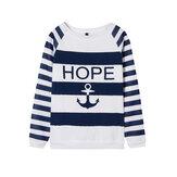 Kadın Casual Anchor Stripe Uzun Kollu Sweatshirt