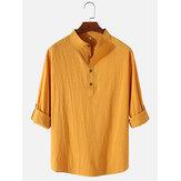 Męskie bawełniane i lniane proste koszule Henley z długim rękawem