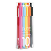 KACO PURE 10Pcs Candy Color Gel Pens 0.5mm Black/Multicolor Gel Ink Pens Press Type Writing Pen Stationery Office School Supplies Form