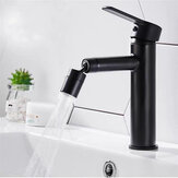 Stainless Steel Black Bathroom Sink Bath Basin Faucet  Mixer Tap Vanity Hot Cold Water Universal Spout Can Be Rotated Tap