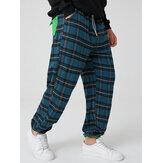 Erkek% 100 Pamuk Kareli Cep Elastik Bel İpli Günlük Pantolon