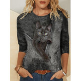 Women Cute Black Cat Print Round Neck Casual Long Sleeve Blouses