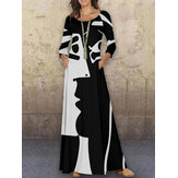 Women Abstract Figure Print Long Sleeve O-Neck Casual Maxi Plus Size Dress