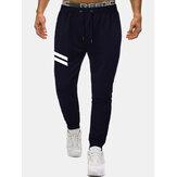 Mens Cotton Sports Striped Drawstring Waist Regular Fit Jogger Pants