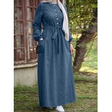 Women Plain Button Front Lace-Up Elastic Cuff Vintage Long Sleeve Maxi Dress With Pocket
