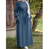 Kadın Düz Düğme Ön Bağcıklı Elastik Kelepçe Vintage Uzun Kollu Maxi Elbise Cepli