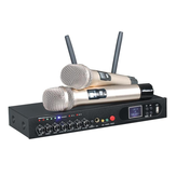 UHF Wireless Microphone System Dual Handheld Karaoke Microphone with 2 Handheld Mics for Home KTV
