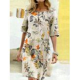 Damska bawełniana sukienka w stylu vintage z kwiatowym nadrukiem z okrągłym dekoltem i pół rękawa