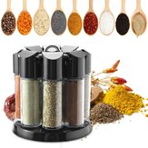 8 Jars Rotating Spice Rack Carousel Kitchen Storage Container Holder Revolving Herbs