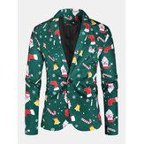 Blazer monopetto alla moda da uomo in cotone con stampa di elementi natalizi allover