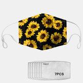 PM2.5 Прокладка из 7 частей Daisy Прокладка с подсолнечным принтом Противотуманные пылезащитные маски