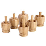 Bamboo Mortar and Pestle Garlic Press Ginger Crusher Spices Grinding Set