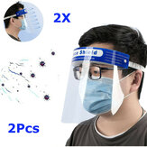 2Pcs Transparent Adjustable Full Face Shield Plastic Anti-fog Anti-spit Protective Mask for Medical Doctors Nurse Family