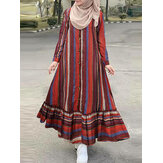 Stripe Print Button Long Sleeve Ruffled Hem Ethnic Vintage Maxi Dress For Women