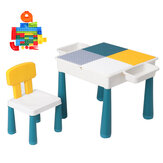 Bambini Building Blocks Set di sedie da tavolo Kids Educational Brain Development Activity Desk Study Scrittura Tavolo da gioco per bambini Toddlers