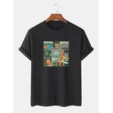 Męskie koszulki z krótkim rękawem z 100% bawełny World Masterpiece Print Crew Neck