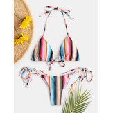 Women Multi-Color Rainbow Striped Halter String Thong Swimwear Bikinis