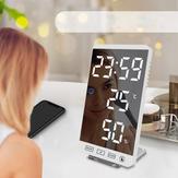 6 Polegadas LED Alarme de espelho Relógio Touch Button Wall Digital Relógio Tempo Temperatura Umidade Display Porta de saída USB Tabela Relógio