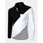Mens Tricolor Patchwork Long Sleeve Golf Shirts With Chest Pocket