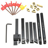 7pcs 10mm Lathe Turning Boring Bar Tool Holder with T8 Wrenches and Carbide Inserts