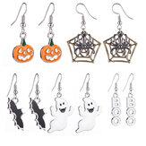 Halloweenowe dekoracje wiszące kolczyki z dyniowym pajęczyną nietoperz wzorzyste