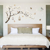 White Blossom Tree Branch Wall Sticker Kirsebær Blomstre Dekaler Mural Decor