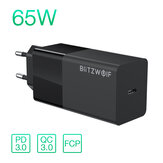 BlitzWolf® BW-S17 65W USB-C Charger PD3.0 Power Delivery Wall Charger With EU Plug Adapter For Smart Phone Tablet Laptop For iPhone 12 12 Mini SE 2020 For iPad Pro 2020 MacBook Air 2020 Huawei