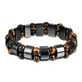 Simple Style Black Magnet Stone Chain Tiger's Eye Beads Health Care Bracelet for Men Women