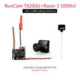 RunCam TX200U VTX + Racer 3 1000TVL CAM 5.8Ghz 48CH 25mW/200mW FPV Camera Transmitter Combo Plug and Play Support Tramp