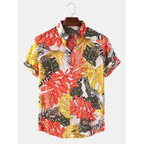Mens Tropical Planta Imprimir Turn Down Collar Havaí Holiday Camisas de manga curta