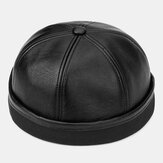 Banggood Design Men Solid Color PU Leather Beanie Brimless Landlord Cap Skull Cap