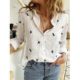 Daily Casual Mujer Manga larga de lino y algodón con estampado de pájaros Camisa Blusa de viaje