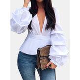 Lange mouwloze casual blouse met V-hals en V-hals voor dames