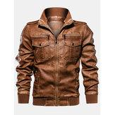 Jaqueta masculina de couro pu com zíper com zíper de manga longa e bolso