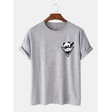 Homens 100% Algodão Cartoon Panda Imprimir Camisetas de manga curta