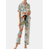 Women Tropical Leaves Print Short Sleeve Pants Faux Silk Home Casual Pajama Set
