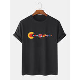 100% Cotton Funny Planet Print Crew Neck Short Sleeve Loose T-Shirts