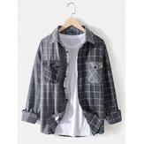 Chemises vintage à manches longues et à carreaux en coton pour hommes