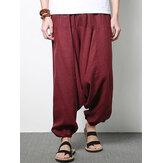 Мужские хлопчатобумажные льняные гарем Брюки повседневные мешковатые свободные брюки модные широкие брюки ноги