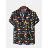 Mens Dinosaur Cartoon Print Turn Down Collar Short Sleeve Shirts