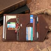 Ανδρικό Γνήσιο Δέρμα RFID Αντικλεπτικό Ταξίδι Χειροποίητο Διαβατήριο Τσάντα Πολλαπλών Κουλοχέρηδων Κάτοχος Πορτοφόλι με Μπρελόκ Στυλό