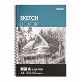Deli 7698 A4 Art Sketch Pad Graffiti-Papier zum Zeichnen 40 Seiten Pure Wood Pulp Double Adhesive Painting Paper Briefpapier Schule Sketch Supplies