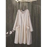 Stripe V-neck Long Sleeve Cotton Causal Midi Dress For Women