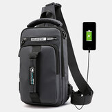 Men Waterproof Fashion Light Weight Oxfords Chest Bag Shoulder Bag With USB Charging Port For Outdoor