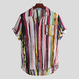 Mens Fashion Colorful Fickor Design Casual Skjortor