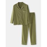 Conjuntos de pijamas casuais casuais de manga comprida para homens de cor sólida de algodão solto com bolso
