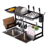 Sink Dish Drying Shelf Stainless Steel Cutlery Holder Drainer Rack Tool