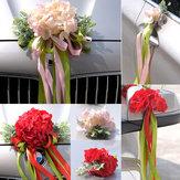 Afitaartificialdacurvada flor artificial do carro do casamento de seda segura ornamento do espelho de Rearview