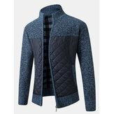 Pánská teplá patchworková pletená bunda s dlouhým rukávem a zipem s kapsou